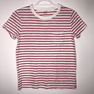 Madewell basic red and white striped pocket tee